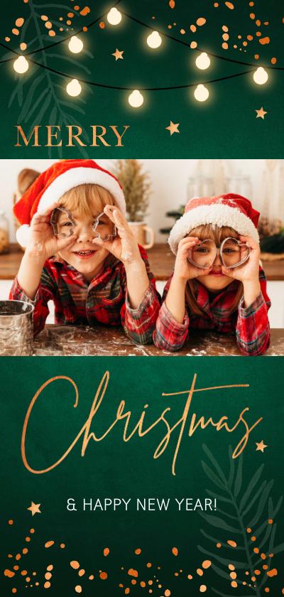Kerstkaarten - Donkergroene kerstkaart foto confetti koperlook