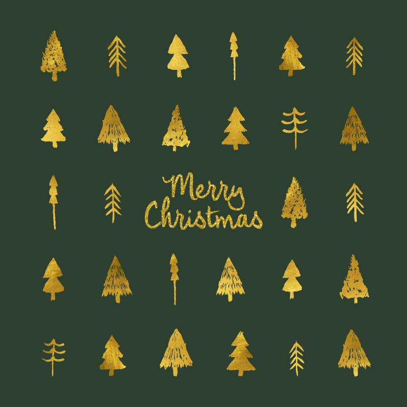 Kerstkaarten - Donkergroene kerstkaart met goudlook kerstbomen