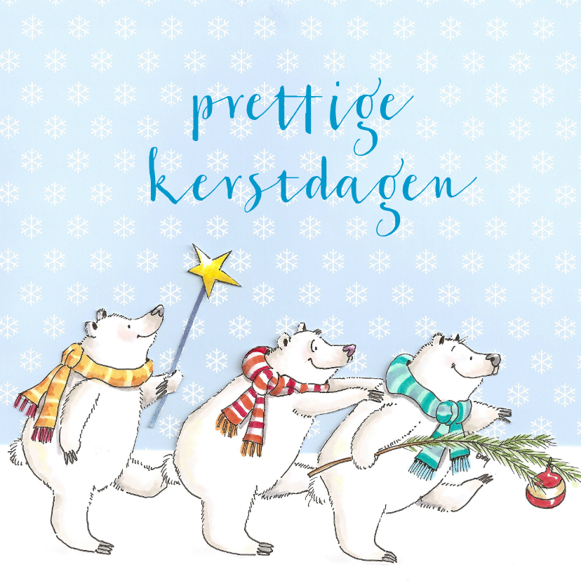 Kerstkaarten - Drie beren in de sneeuw