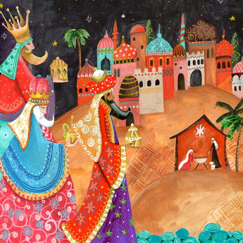 Kerstkaarten - Drie Koningen kerstkaart, bethlehem en stalletje