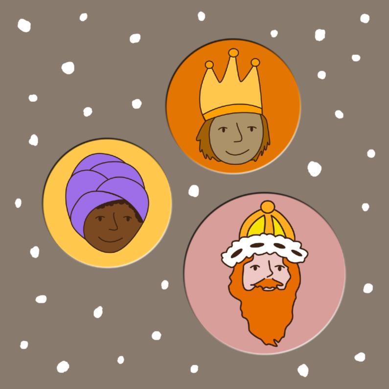 Kerstkaarten - drie wijzen uit het Oosten bruin