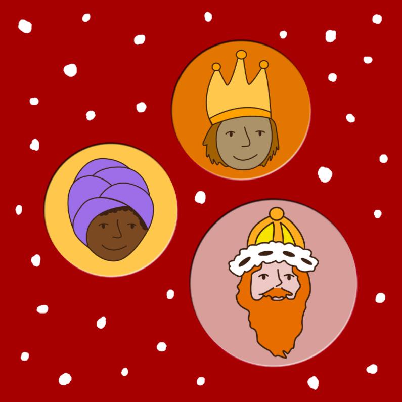 Kerstkaarten - drie wijzen uit het Oosten rood