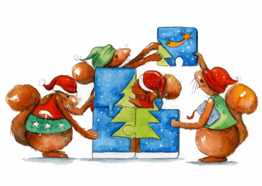 Kerstkaarten - Een kerstboom puzzelen
