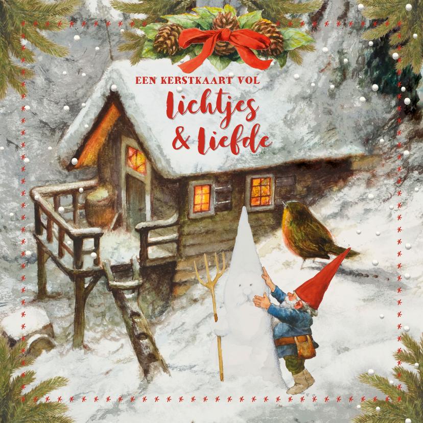 Kerstkaarten - Een kersthuis vol lichtje en liefde kerstkaart