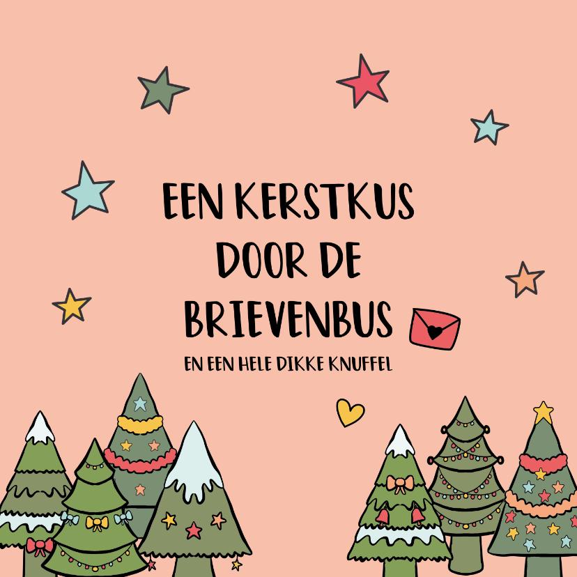 Kerstkaarten - Een kerstkus door de brievenbus - kerstkaart
