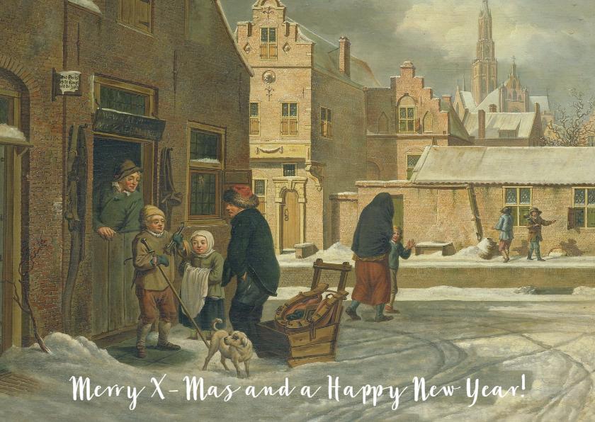 Kerstkaarten - Een klassieke kerstkaart met schilderij van stadsgezicht