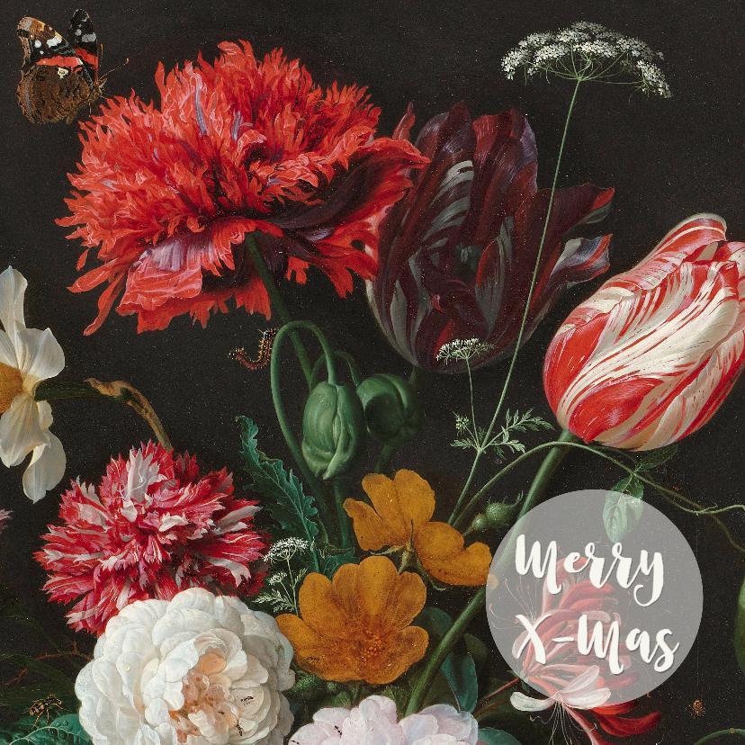 Kerstkaarten - Een stijlvolle kerstkaart met vintage bloemenschilderij