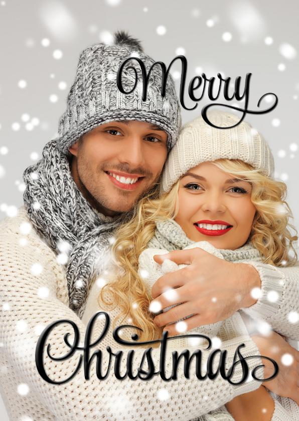 Kerstkaarten - Eigen foto Merry Christmas Happy New Year zwart