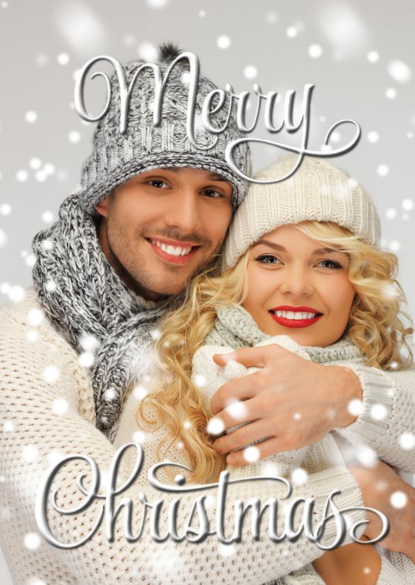 Kerstkaarten - Eigen foto Merry Christmas wit OT