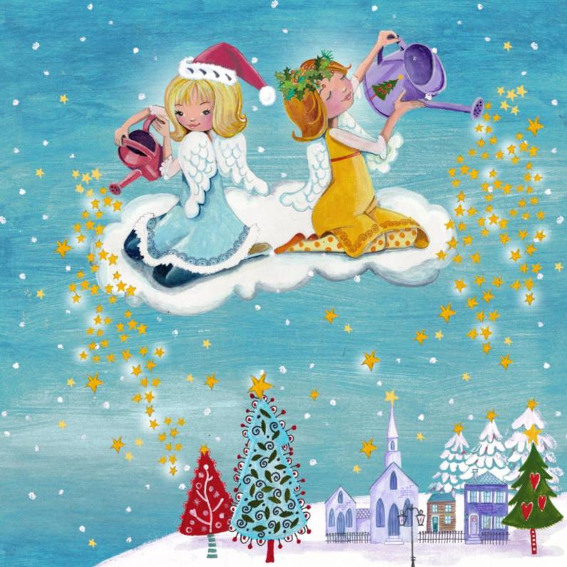 Kerstkaarten - Engeltjes sterren sneeuw kerst