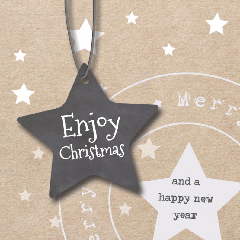 Kerstkaarten - Enjoy christmas - kraft