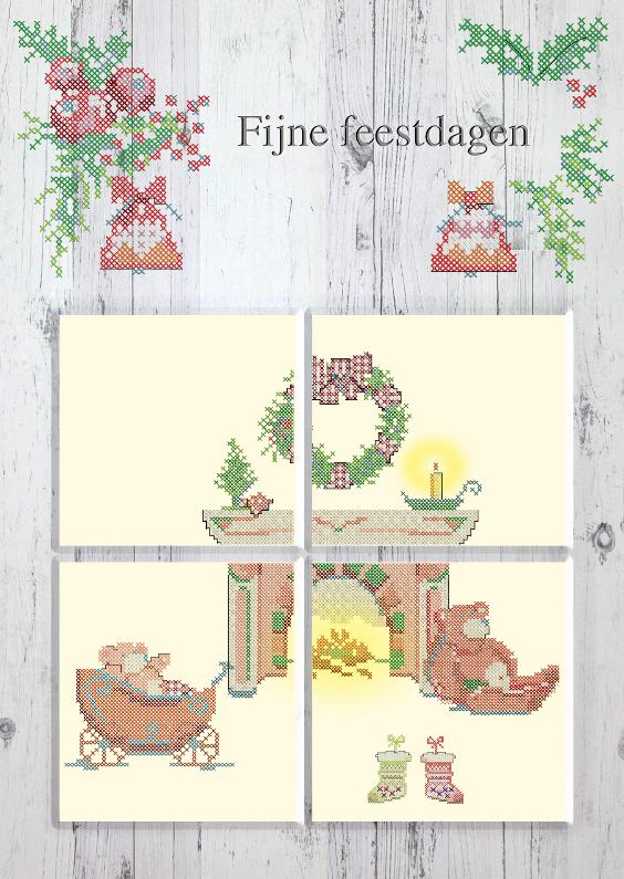 Kerstkaarten - Even binnen kijken-hout-