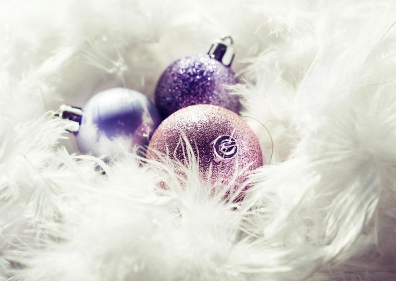 Kerstkaarten - feathers n balls