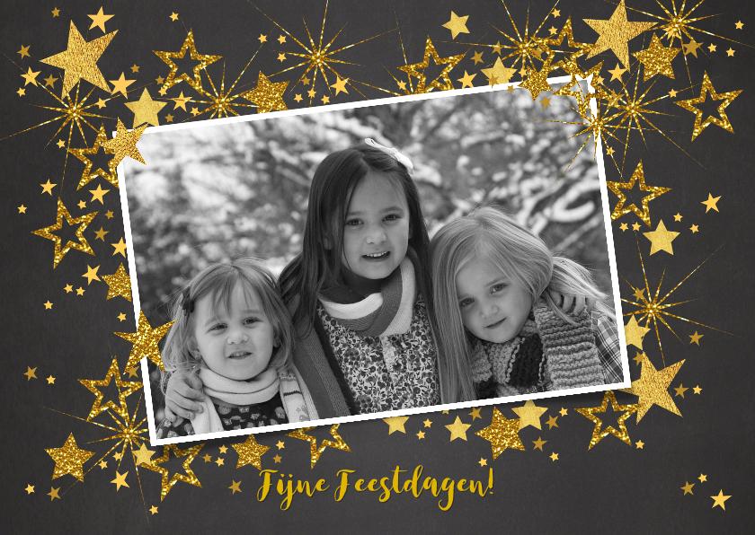 Kerstkaarten - Feestelijke kerst fotokaart gouden sterren L