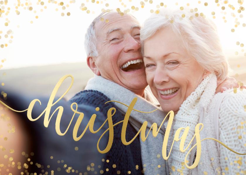 Kerstkaarten - Feestelijke kerstkaart gouden Christmas confetti