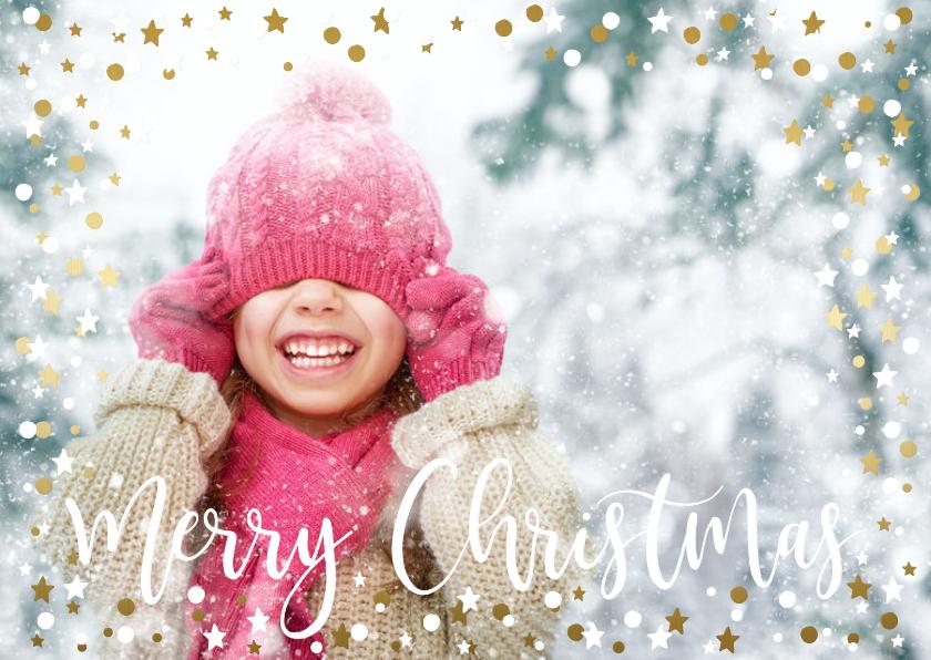 Kerstkaarten - Feestelijke kerstkaart goud/wit confetti kader met sterren