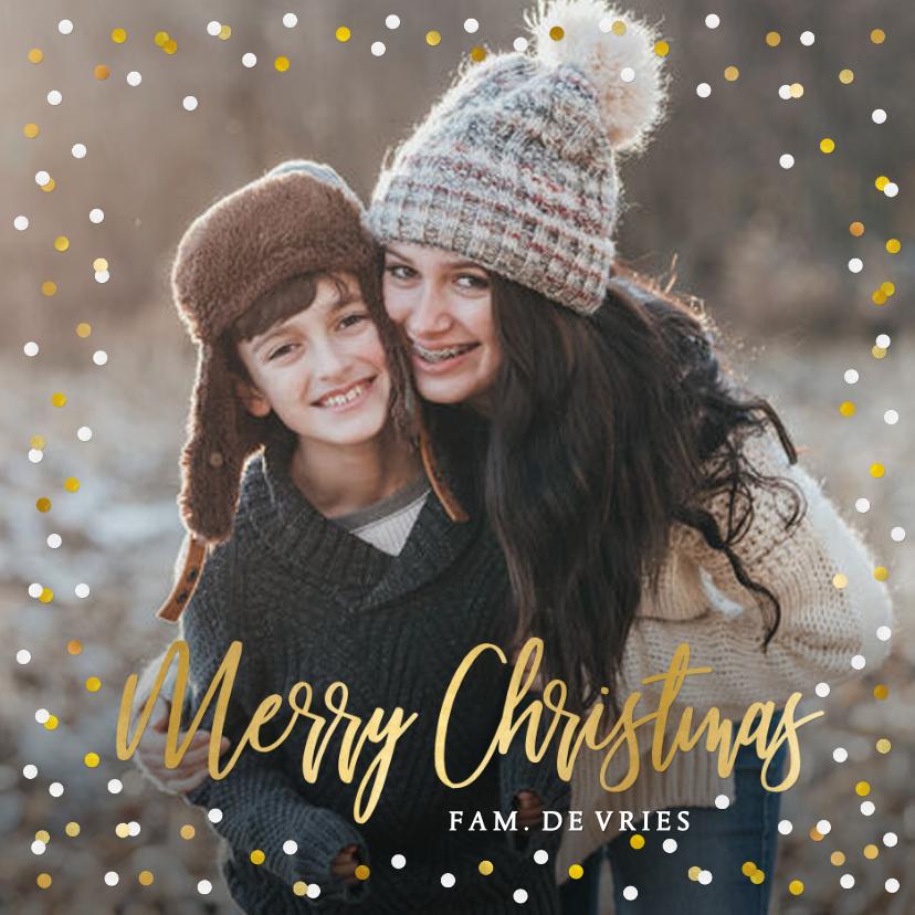 Kerstkaarten - Feestelijke kerstkaart met confetti rand en grote eigen foto