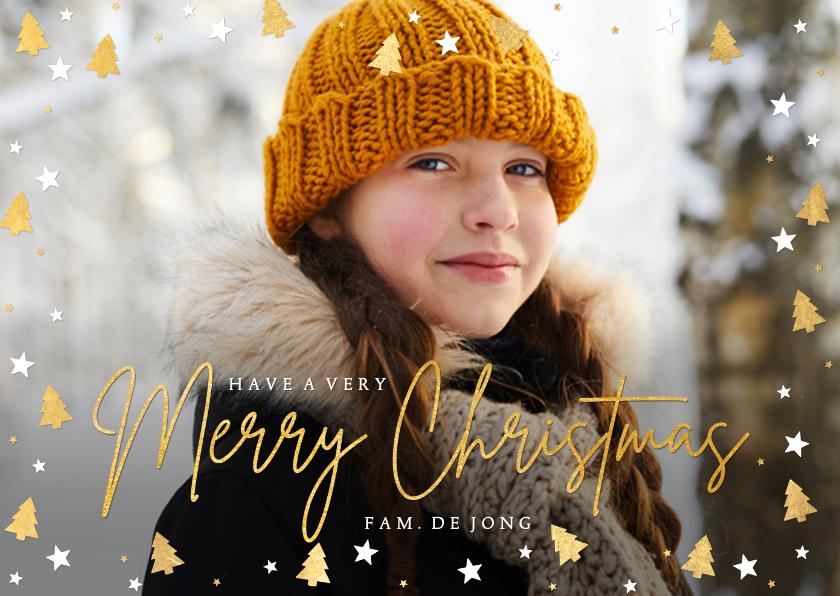 Kerstkaarten - Feestelijke kerstkaart met eigen foto en kerstboompjes kader