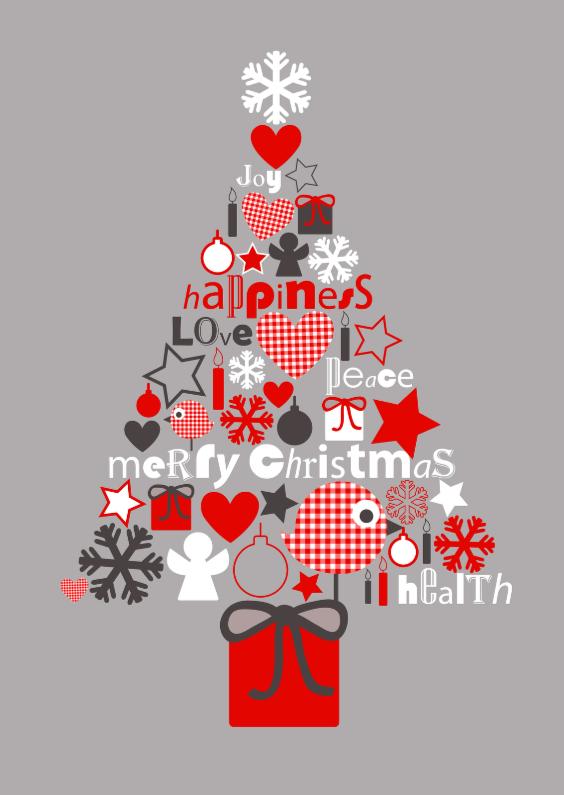 Kerstkaarten - Figuren Kerstboom