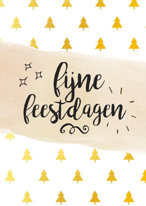 Kerstkaarten - Fijne feestdagen gouden kerstbomen