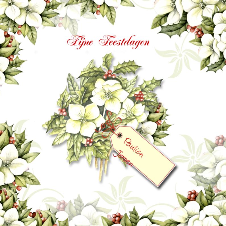 Kerstkaarten - Fijne Feestdagen kerstbloemen label