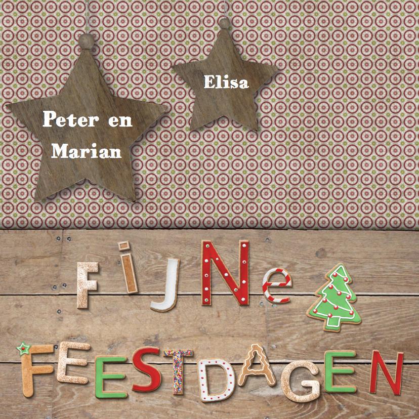 Kerstkaarten - Fijne feestdagen met sterren en namen