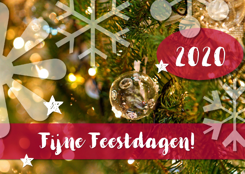 Kerstkaarten - Foto detail kerstboom Kerst Fijne Feestdagen 2019