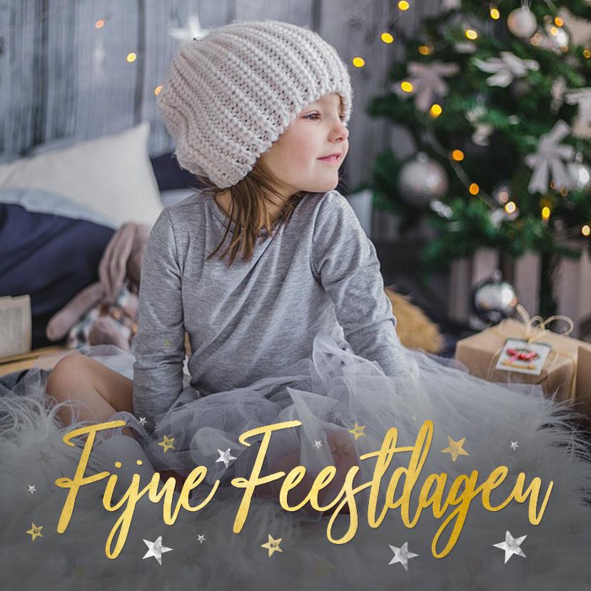 Kerstkaarten - Foto kerstkaart met goudlook fijne feestdagen en sterretjes