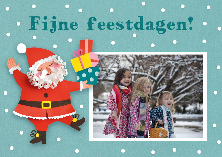 Kerstkaarten - Foto kerstkaart met kerstman