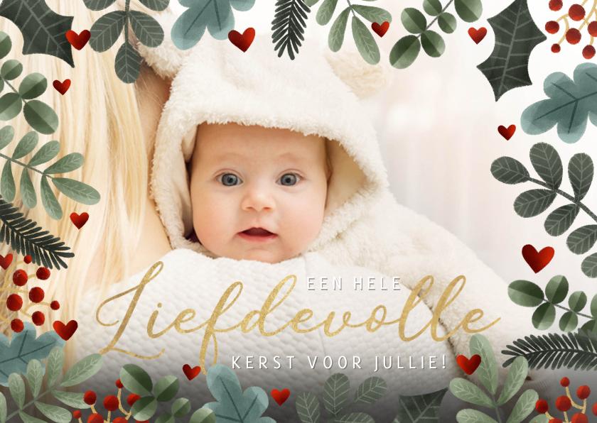 Kerstkaarten - Foto kerstkaart met kersttakjes kader en liefdevolle kerst
