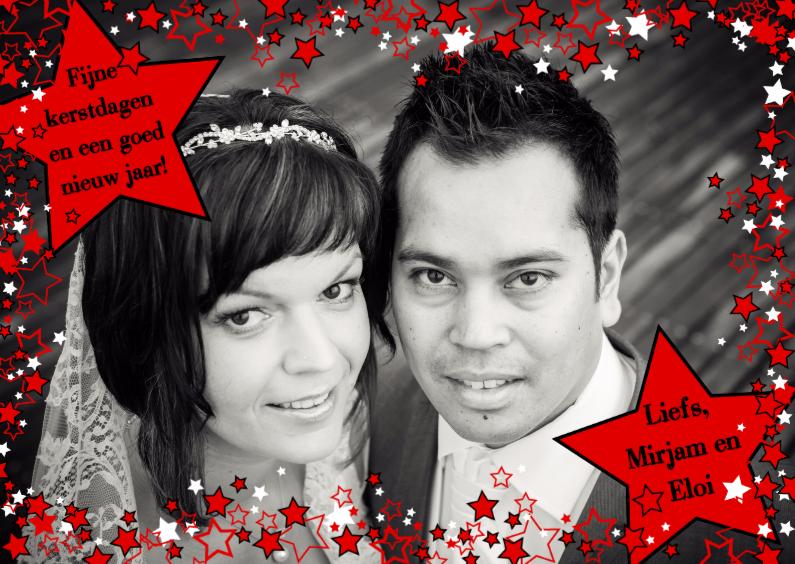 Kerstkaarten - FOTO kerstkaart rode n witte sterren L