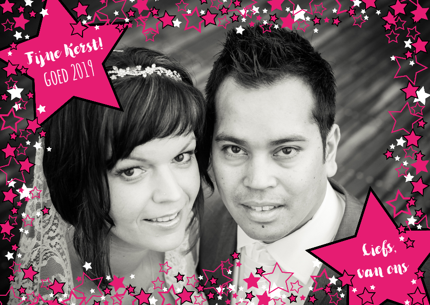 FOTO kerstkaart roze witte sterren 1