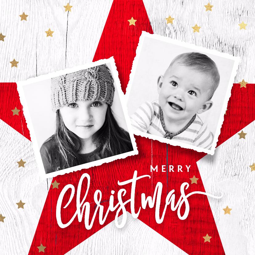 Kerstkaarten - Foto kerstkaart ster rood