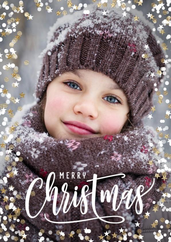 Kerstkaarten - Persoonlijke foto kerstkaart sterren