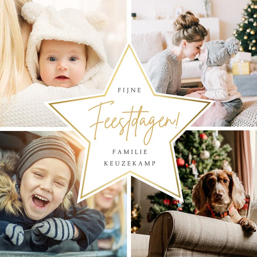 Kerstkaarten - Fotocollage kerstkaart met 4 eigen foto's en gouden ster