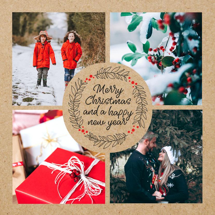Kerstkaarten - Fotocollage kerstkaart met kerstgroet en kraft