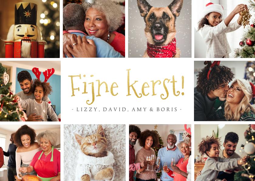 Kerstkaarten - Fotocollage met 10 foto's in goud fijne kerst kerstkaart