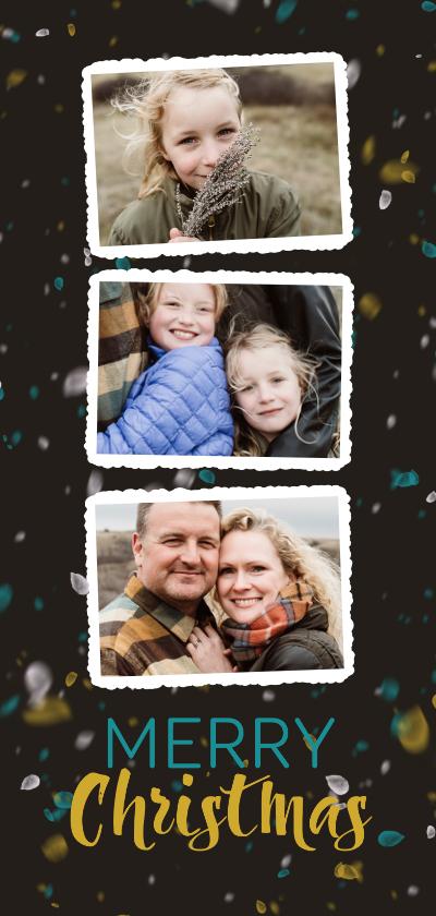 Kerstkaarten - Fotocollage met sneeuw en trendkleuren kerstkaart