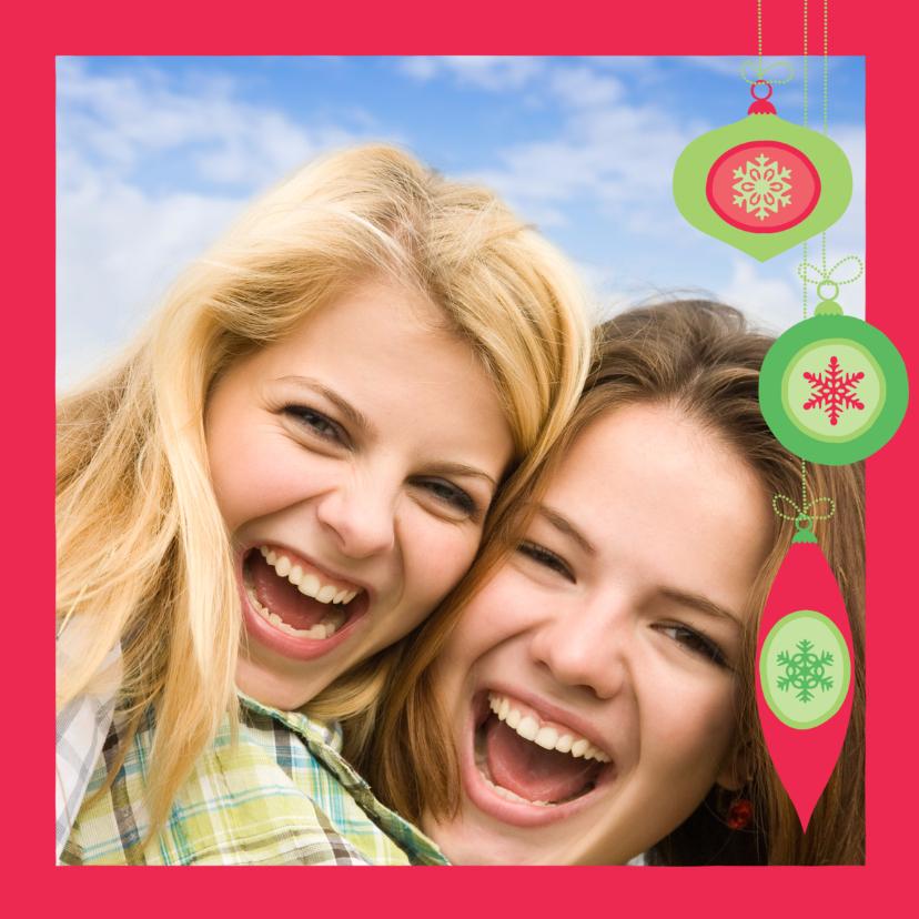 Kerstkaarten - Fotokaart met kerstballen