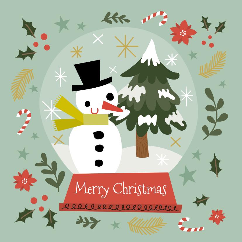 Kerstkaarten - Geïllustreerde kerstkaart met leuke illustratie sneeuwbol
