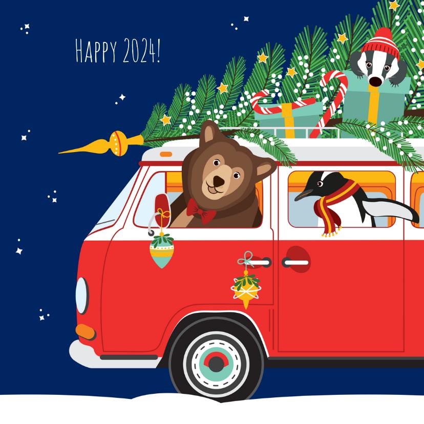 Kerstkaarten - Gelukkig nieuwjaar voor iedereen vanuit een gezellige VW-bus
