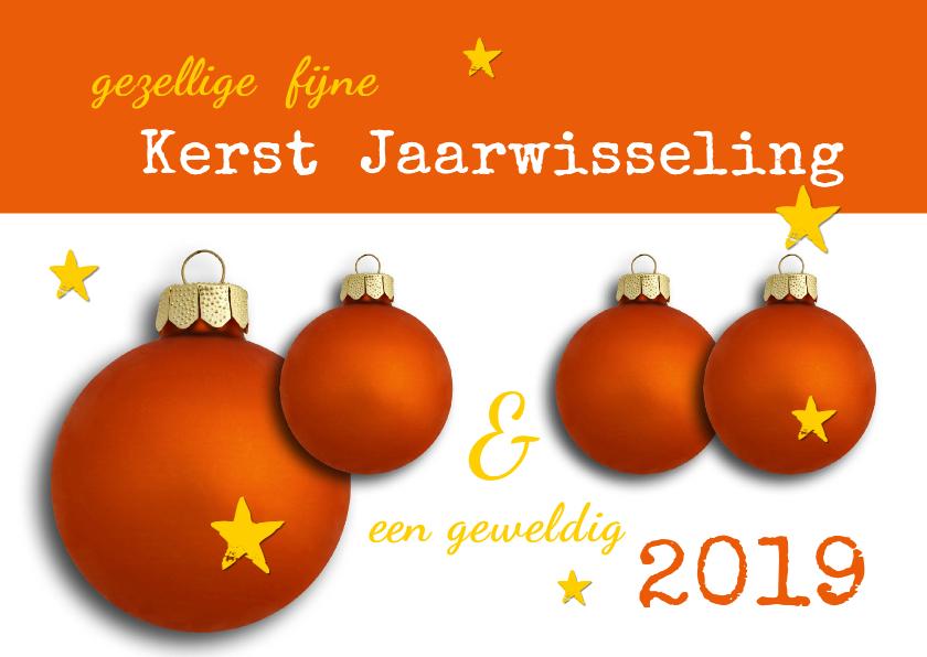 Kerstkaarten - Gezellige Kerst Oranje Kerstbal