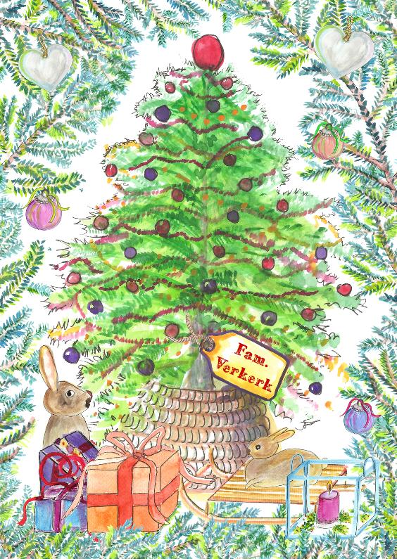 Kerstkaarten - Gezellige kerstkaart met boom