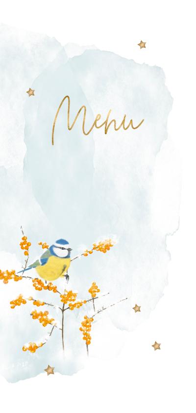 Kerstkaarten - Gezellige menukaart kerst met oranje besjes