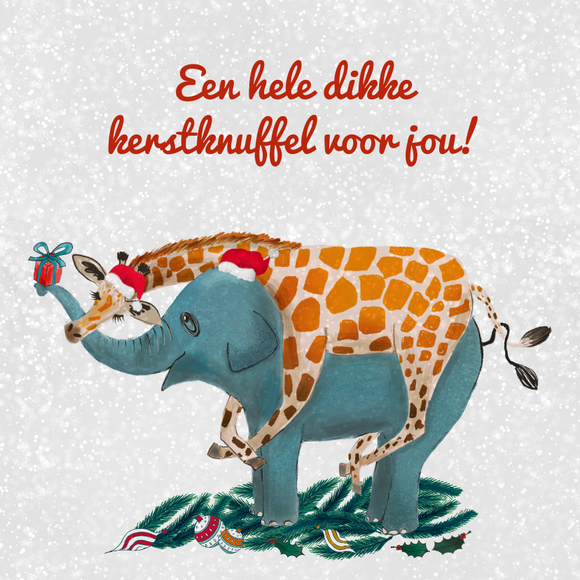 Kerstkaarten - Giraffe knuffelt olifant tijdens kerst