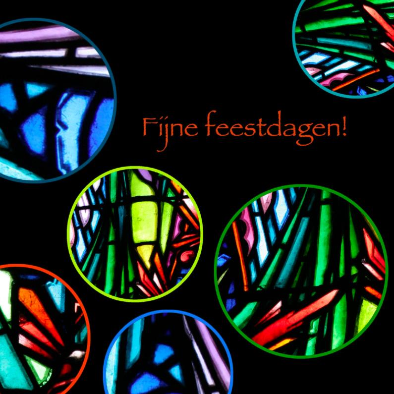 Kerstkaarten - Glas in lood cirkels feestdagen