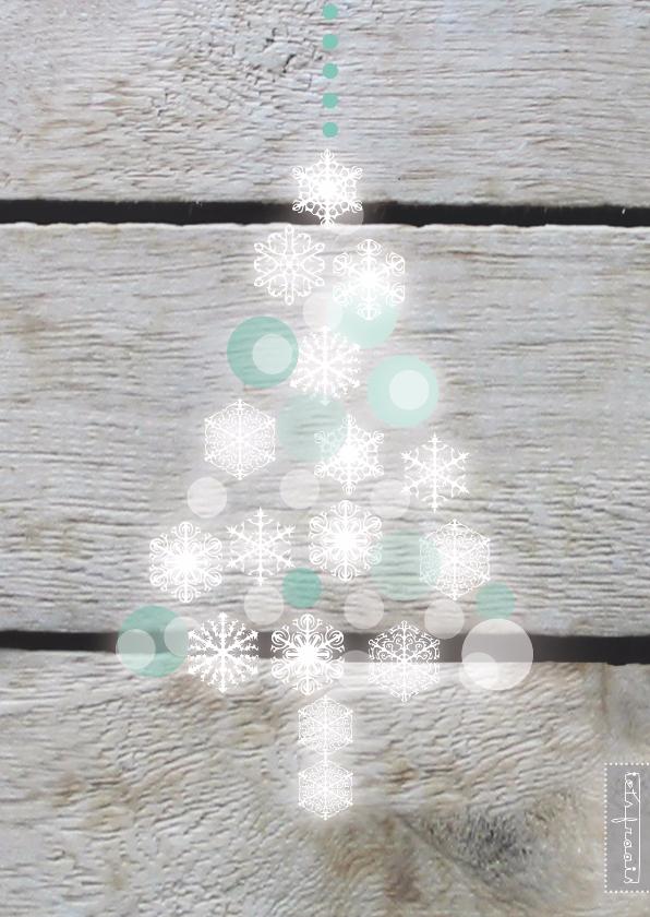 Kerstkaarten - Glitter kerstboompje hout print