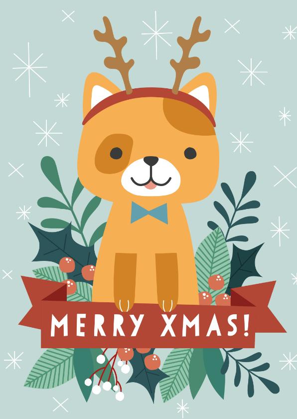 Kerstkaarten - Grappige kerstkaart met illustratie van kat en takjes