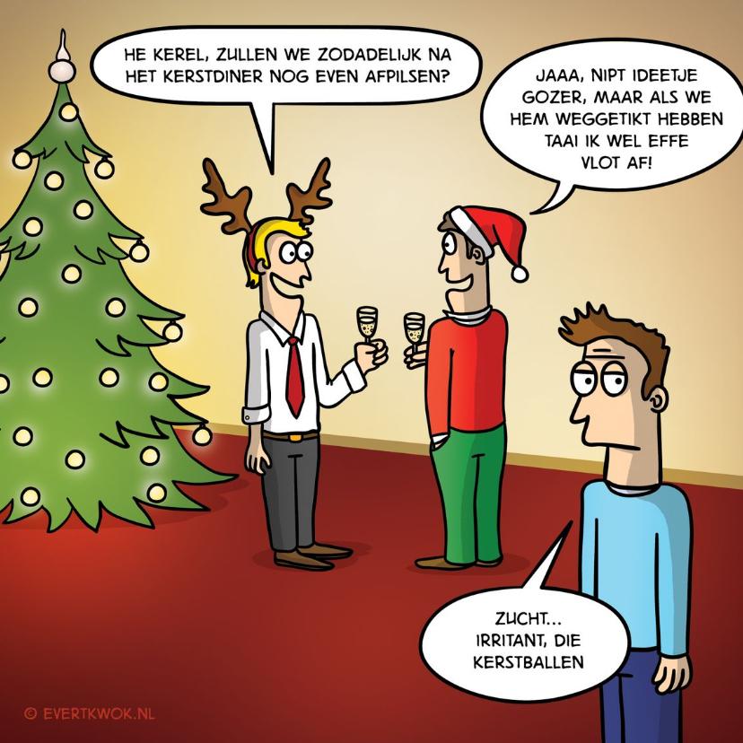 Kerstkaarten - Grappige kerstkaart met kerstballen