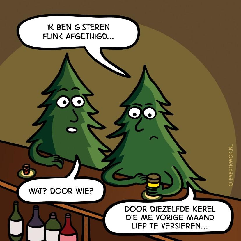 Kerstkaarten - Grappige kerstkaart met kerstbomen aan de bar